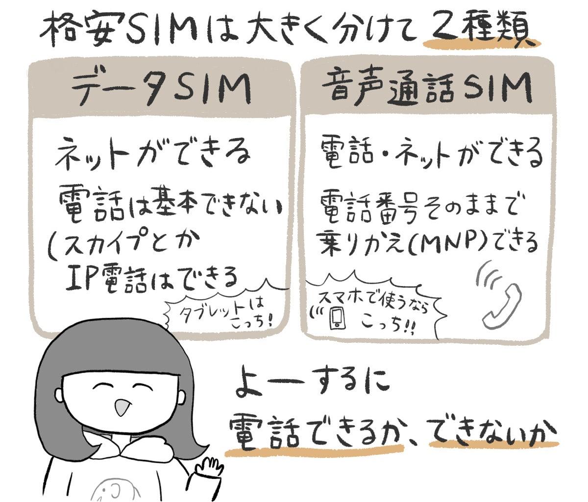 格安SIM 種類 図解